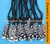 12 pcs  white Yak  bone carving Tiki Man totem pendant necklace  Wholesale  G-74