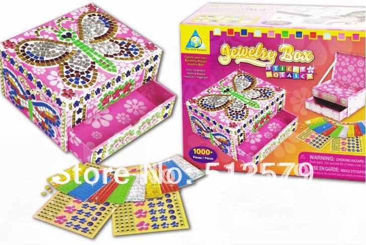 DIY!Jewelry Box,Sticky mosaics For Children handmade toy.two styles for your choice.(China (Mainland))