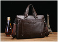 Hot sale fashion genuine soft leather briefcase, leather laptop bags for men, men&#39;s big size shoulder bags, business briefcase