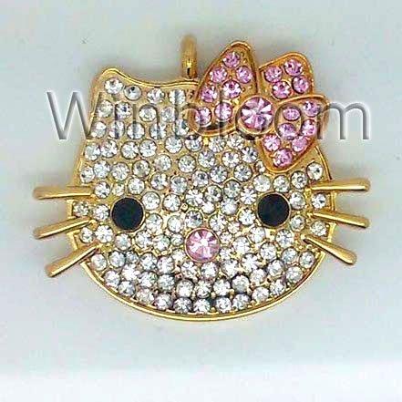 Kitty Face USB Memory Stick 4GB 8GB 16GB 32GB Real Capacity FREE Shipping Fashion Jewelry Jump Drives Pendant JU0021(China (Mainland))