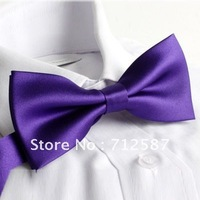 Fashion Men's Pure Plain Bowtie Polyester Pre Tied Wedding Bow Tie(2pcs/lot)~Free Shipping#5163