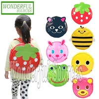 5pcs/lot Free shipping, New style kids Schoolbag Animal round backpack children shoulders bag baby travel backbag
