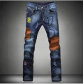 Free Shipping New Men's Vintage Distressed Brand Denim Jeans,Fashion Patchwork Tight Skinny Jeans Pants 29-36