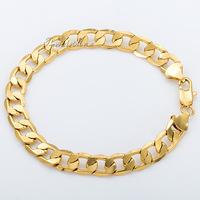 Customized 8MM MENS BOYS Chain Bracelet  FLAT CUT CURB CUBAN Bracelet 18K Gold Filled Bracelet 18KGF Wholesale Jewelry Gift GB09