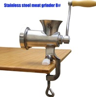 free shipping 8# manual stainless steel meat grinder,meat sausage stuffer,meat mincer machine stainless steel,meat chopper