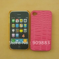 Plastic with PU leather crocodile grain case for iphone 4G,4S,free shipping,100pcs/lot,cell phone cover,handphone cover