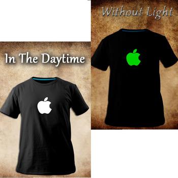 sales promotion! luminous,apple ,iphone logo shirt,black o-neck short-tee, novelty nightclub t-shirt ,fashion brand logo top tee