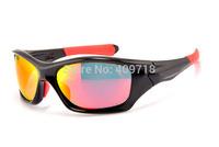 Brand Name Sports Sunglass Designer Eyewear Men's Fashion Pitbull OO9161-04 Black Sunglass Fire Iridium Lens Red Logo Polarized