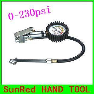 Sunred apressarás taiwan 0-230psi inflador de pneus com manômetro de pressão de ar dispositivo de leitura para o motor do carro bicyle NO.07611 grátis frete(China (Mainland))