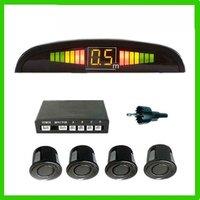 Free Shipping!!Brand New Black wired  4 Parking Sensors LED Car Reverse Backup Radar Kit Human Voice