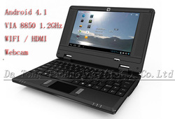 Free shipping 7 inch mini laptop Netbook Android 4.0 VIA8850 DDR512M 4GB +Wifi+webcam with with Russian keyboard(China (Mainland))