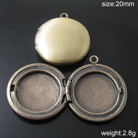 Brass Locket Photo Pendant 20mm hole:1.5mm ID19509(China (Mainland))