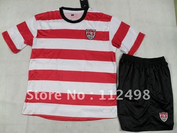 Free-Shipping White Red USA US United States America 12-13 Home Kit Olympic Games 2012 Football Uniform Jerseys Shirt