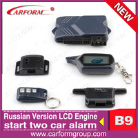 Free shipping Starline B9 Russian version Two way car alarm system LCD remote auto alarms Engine starter Long distance 1200m