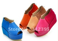 Fish mouth shoes wedges sandals Goth High Platform Flat Creeper Shoes 4 color