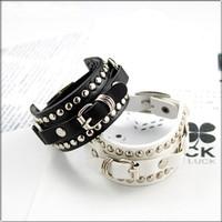 100%lose! Fashion studded belt buckle leather charm bracelet bangle . wholesale!  Free Shipping !