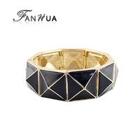 2013 New style designer jewelry graceful enamel alloy geometry punk style spike stretch bracelet and bangles