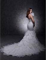 Stunning Trumpet/ Mermaid One Shouler Court Train Organza Tiered Wedding Dress