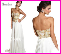 Hot Sell White Pink Strapless Beaded Gold Sequins Long Chiffon Evening Prom Dresses E1015