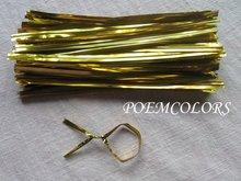 "1000 pcs 4""(100mm) metallic twist tie twist ties material candy twist tie Free shipping !! (China (Mainland))"