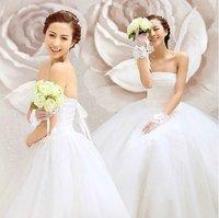 Free Shipping Guaranteed 100% 2014 New Fashion Bride Wedding Dress Elegant Sweet Princess White Tube Top Wedding Gown US Size