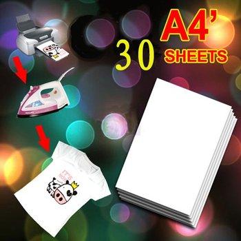 30 X A4 T Shirt Transfer Paper Tshirt Inkjet Iron On Heat 8.5x11