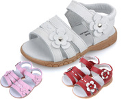 2015 Girls genuine leather sandals white pink velcro strap open toe with flowers summer new arrival girls shoes kids shoes