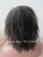 "Free Shipping! Free ship! 12"", #2, Afro Curl, Indian Human Hair,Lace Front Wig, 8""-24"" Medium Size In Stock"