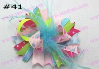 free shipping 65pcs NEWEST 4.5''  feather hair bows fashion boutique girl boutique hair bows Animal print ribbon bows