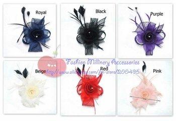 "5.5""(14cm) Sinamay Flower Brooch Fascinator 10pcs/lot #6 color"