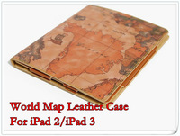 World Map Leather Case For iPad 2 iPad 3 World Map Leather Case,MOQ:1pcs,FreeCN/ HK Post,A0022