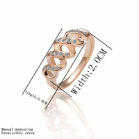 Free shipping 18K GP gold plated ring fashion jewelry ring nickel free copper rhinestone crystal rotating ring SMTPR010