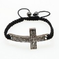 Hot Sale!!!Squre Shamballa Bracelet Cross,Rhinestone Gun Black Color,100% AAAAA Quility CZ Crystal,New Arrival Free Shipping