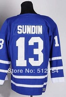 #13 Mats Sundin Jersey,Ice Hockey Jersey,Best quality,Embroidery logos,Authentic Jersey,Size M--XXXL,Accept Mix Order