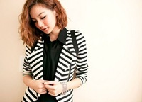 Wholesale - 2012 NEW Free Shipping Women&amp;#39;s Clothing dress Fashion Slim jacket stripe small suit coat T67117