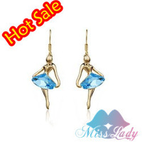 2013 18K Gold Plated Rhinestone Crystal design Ballet girl Drop Earrings Fashion Jewelry for women Y1639