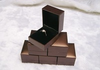 (Min order$10) 6 pieces wholesale lot Jewelry Gift Box, Ring box brown leatherette paper with black velvet insert