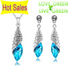 Free Shipping Hotselling Wholesale 18K GP White gold Water Drop Austrian Crystal fashion Jewelry Set Necklace +Earrings 41563