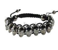 US$199 Off US$20 Zinc Alloy Shamballa Bracelet, skull shape zinc alloy beads with rhinestone, wax cord,adjustable