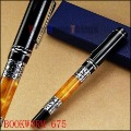 Hot sale BOOKWORM 675 Cheap and High Quality silver flower amber celluloid roller ball/Ballpoint/Ball Point/Gift/Rollerball pen