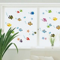 Popular colorful removable fish wall stickers for glass windows,tiles and wall