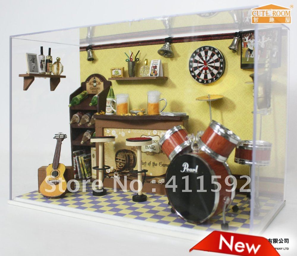doll house furniture miniature with lights,diy dollhouse furniture miniature,dollhouse miniature furniture(China (Mainland))