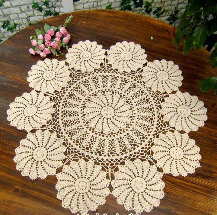 Vintage handmade crochet tablecloth doliy 90cm 36 inch - Set de table crochet ...