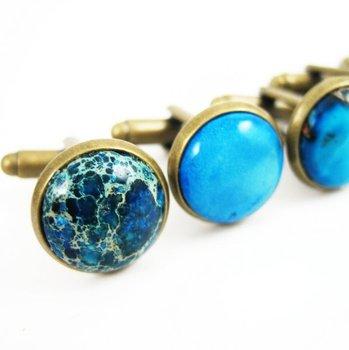 12mm round ocean blue imperial jasper cabochon stone cufflinks,retro vintage brass bronze jasper cabochon cuff link 6600029