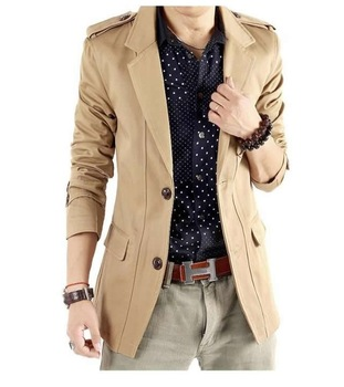 fashion men's jacket cotton Blazer men casual coat outerwear clothes Slim Stylish fit two Buttons Suit