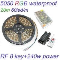 Free Shipping 20M 5050 RGB waterproof Strip 60 led/Meter + RF 8 key Controller + 12V 20A 240W power supply RGB LED Light Kit
