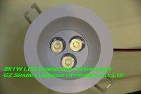 Professional! White Housing 3W Led Down Light Lamp Free Shipping