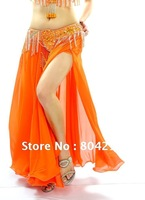 NWT Sexy  belly dance Costume skirt 2 side slits skirt 11 colors(without Belt)