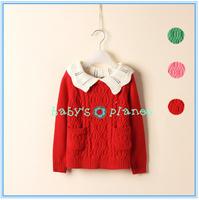 2015 freeshipping fashion winter baby girl cardigans classic girl sweater princess ruffles casual garment Christmas red 4pcslot