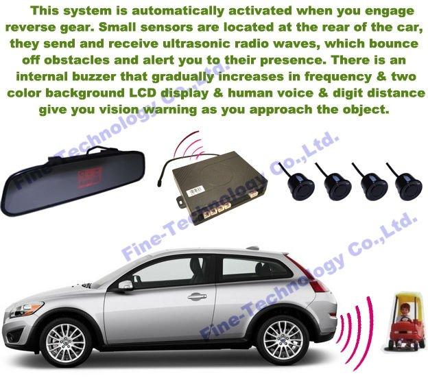 band new 12 voltage 4 ultrasonic waterproof backuo sensor rear view mirror LCD display wireless parking sensor FT-902R(China (Mainland))